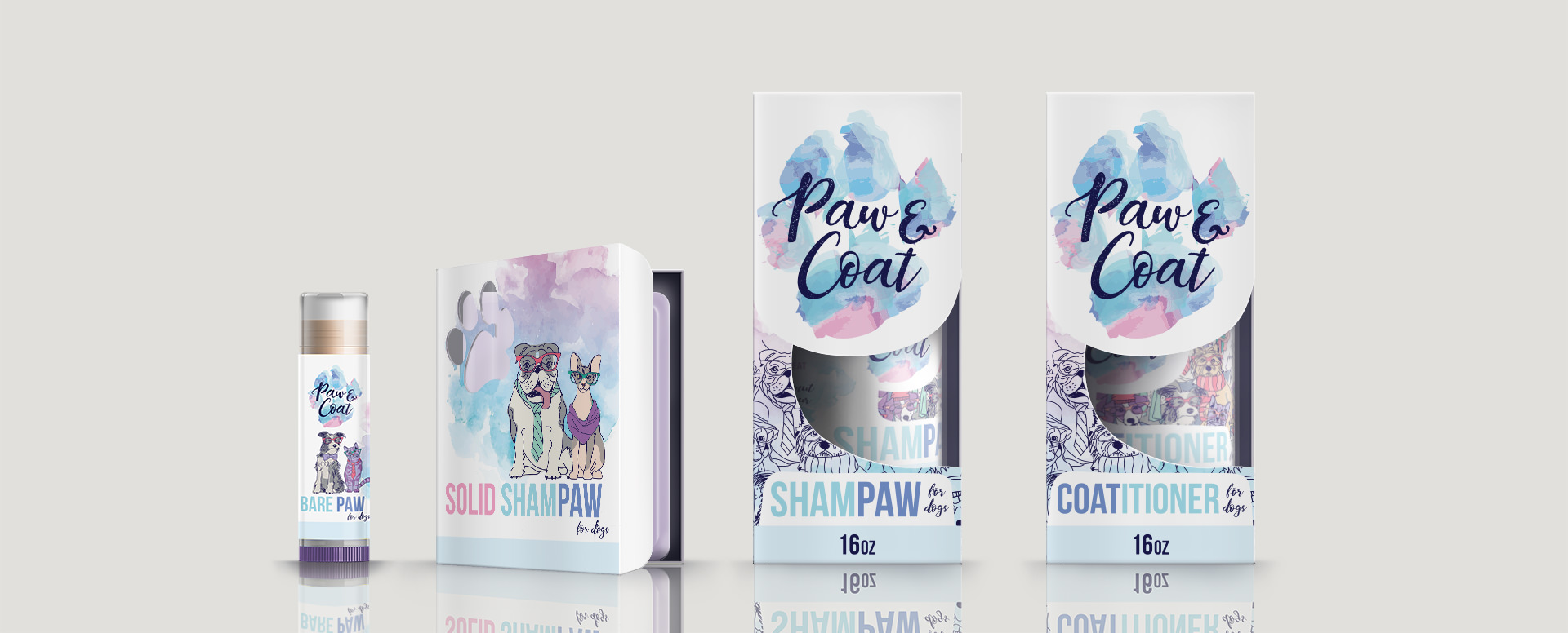 Paw&Coat brand identity and packaging skus
